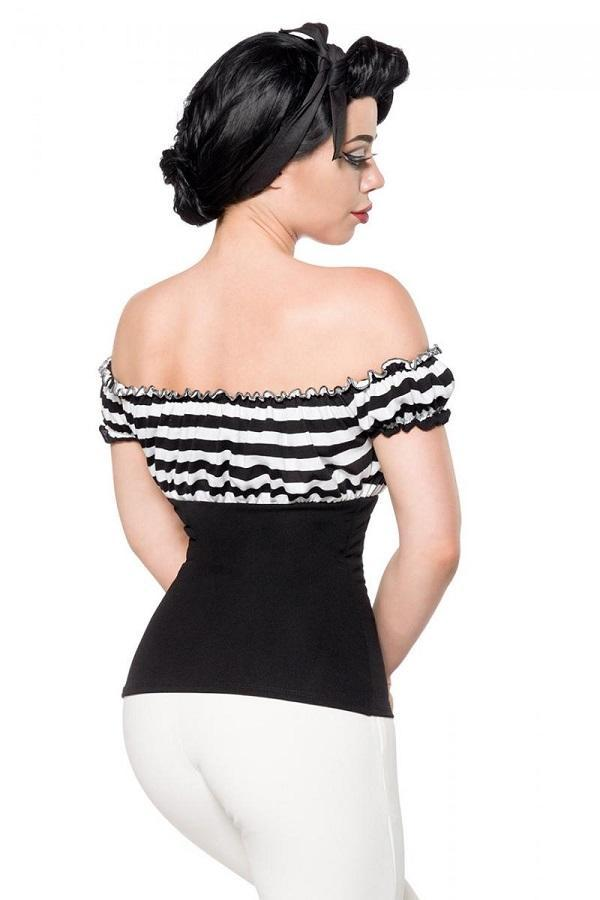 Jersey Top Black and Stripes