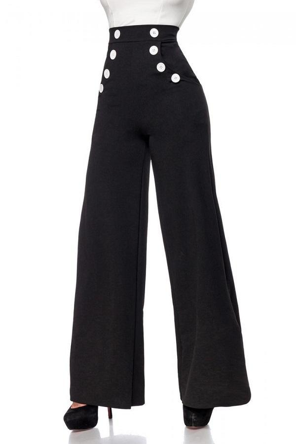 Trousers Black With White Buttons