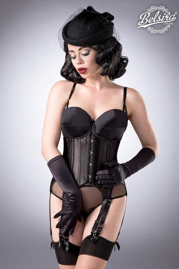 Black Satin Corset Set