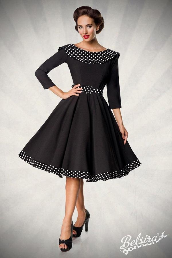 Black Swing Dress With Belt