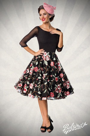 Embroidered Dress Black-Pink