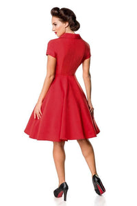 Swing Dress with Buttons Red