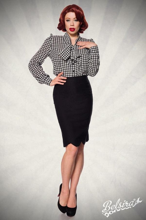 50s pencil skirt with wavy edges Black