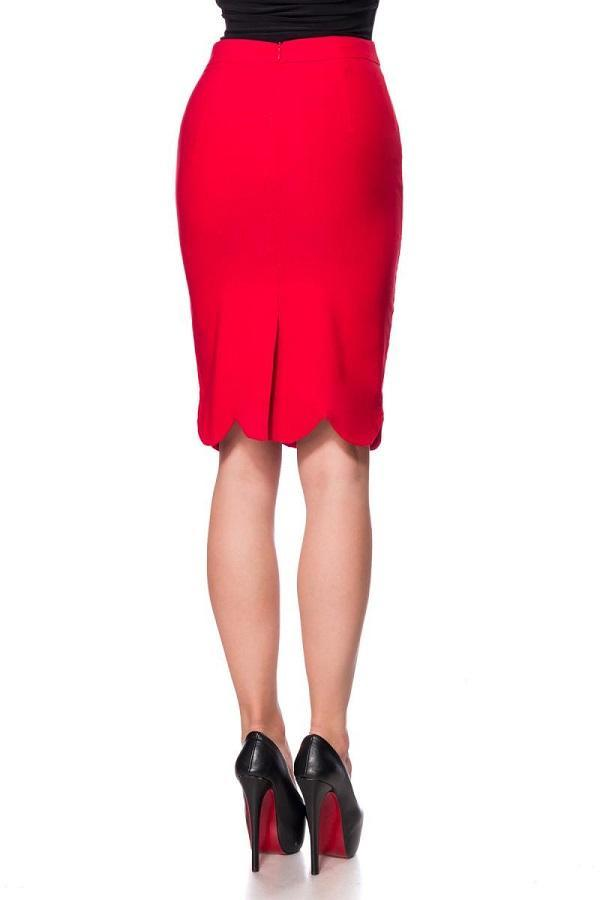 50s pencil skirt with wavy edges red