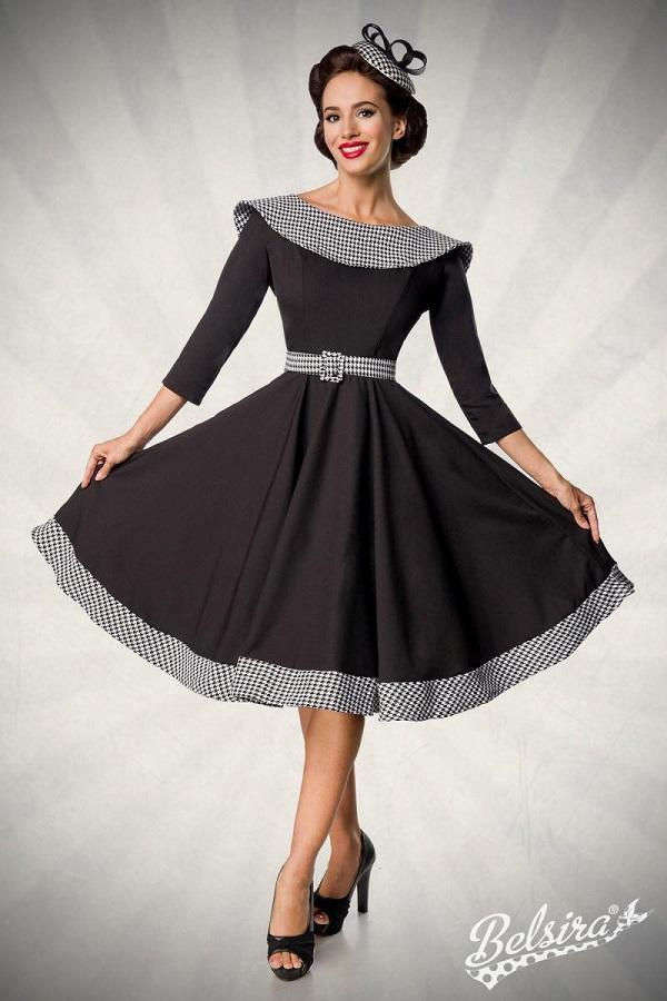 Dress Black with Houndstooth Pattern