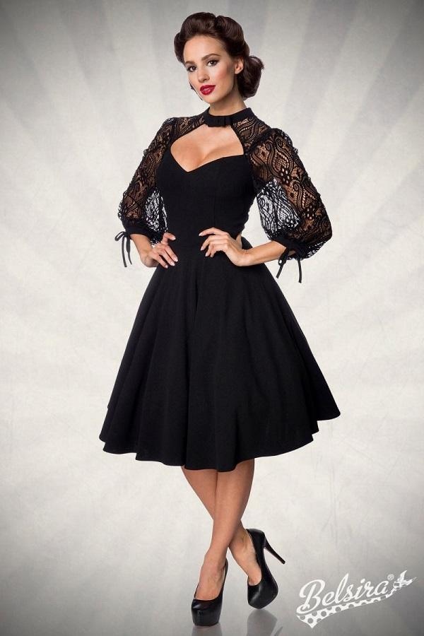 Swing Dress with Lace Sleeves