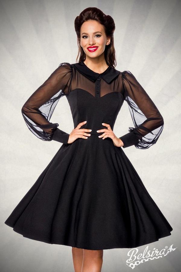 Dress with Mesh Panel Black