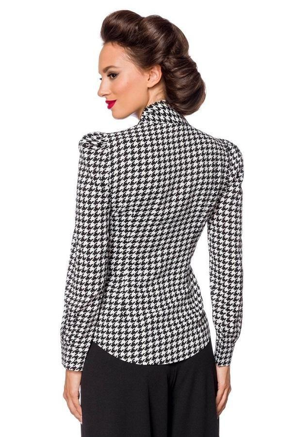 Houndstooth Long Sleeve Blouse