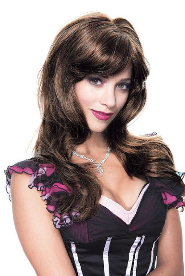 Dark brown wig with a flowing fringe