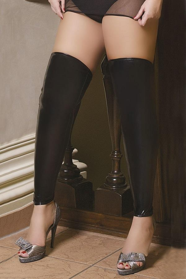 Lace up back latex footless stockings