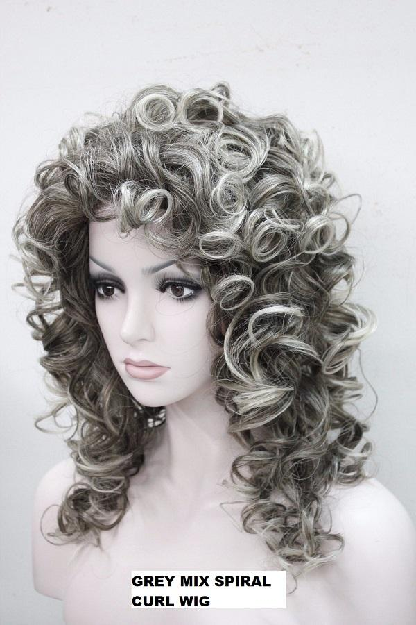 Spiral Curl Grey Mix Wig