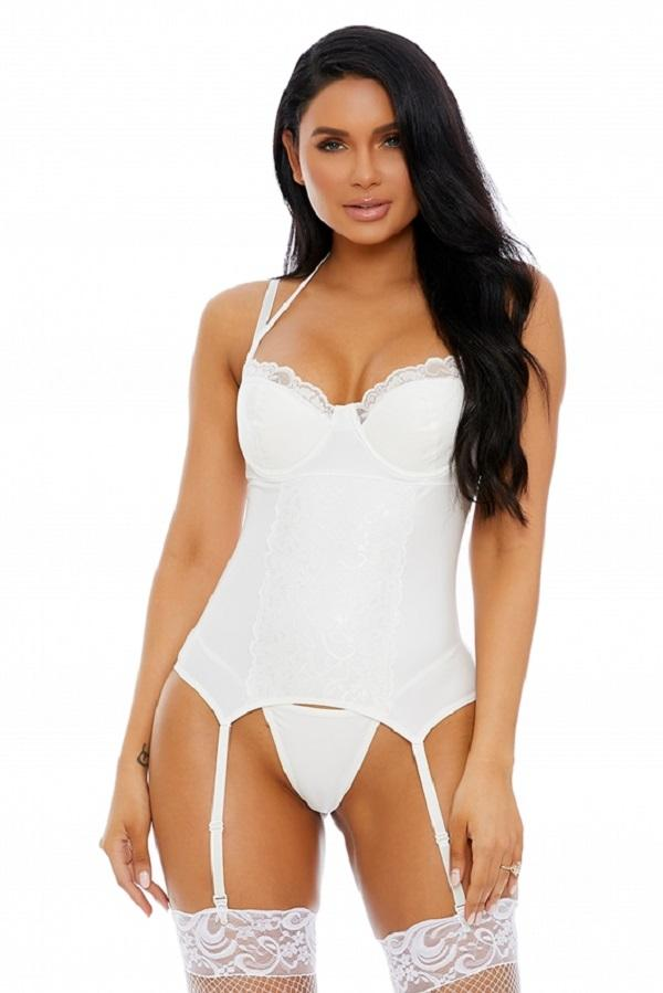 White Matte Bustier Faux Leather