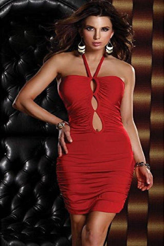 Halter red mini dress