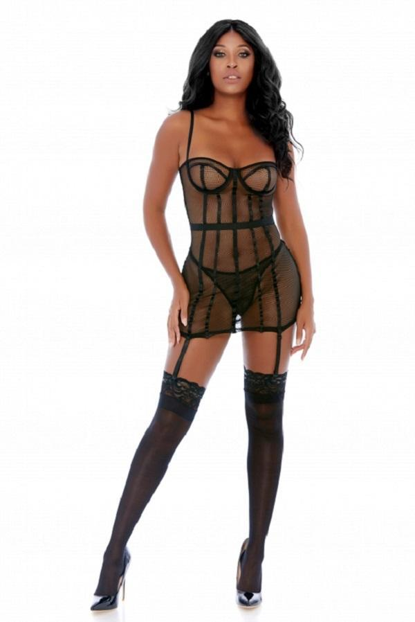 The Cage Net Chemise Set