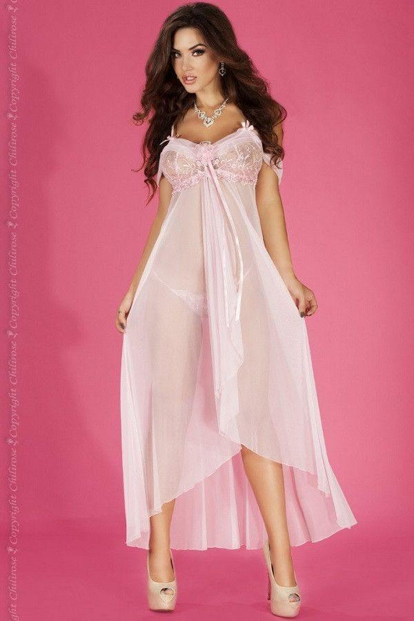 Long pink sheer babydoll with G-string
