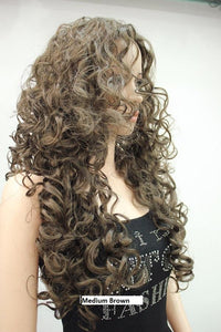 Medium Brown Long Spiral Curl Wig 9369