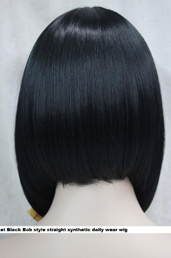 Short Jet Black Bob style straight synthetic daily wear wig