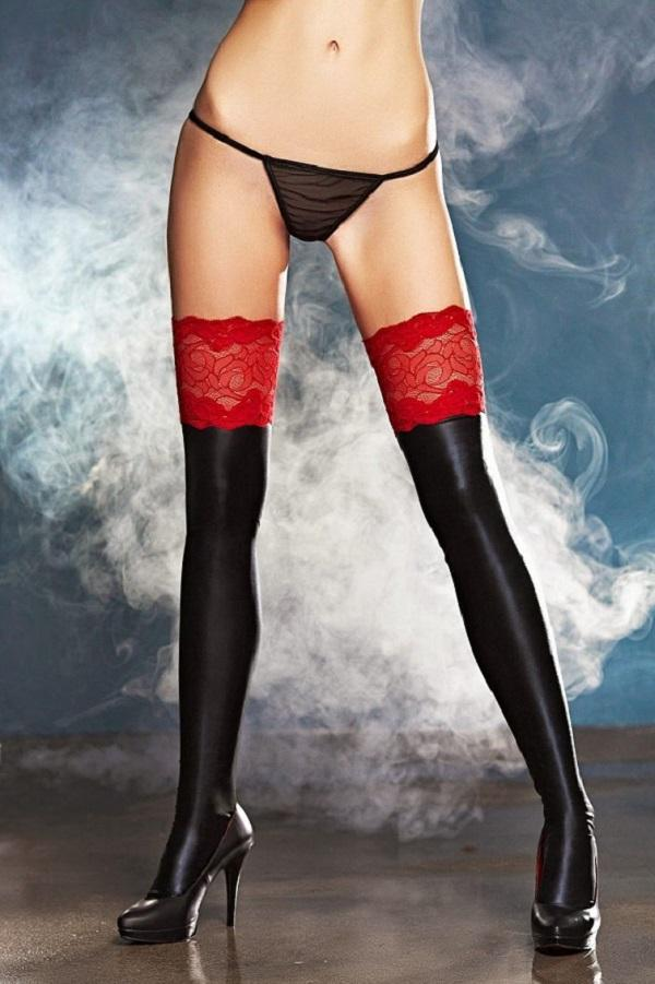 Wet-Look Stockings A0199