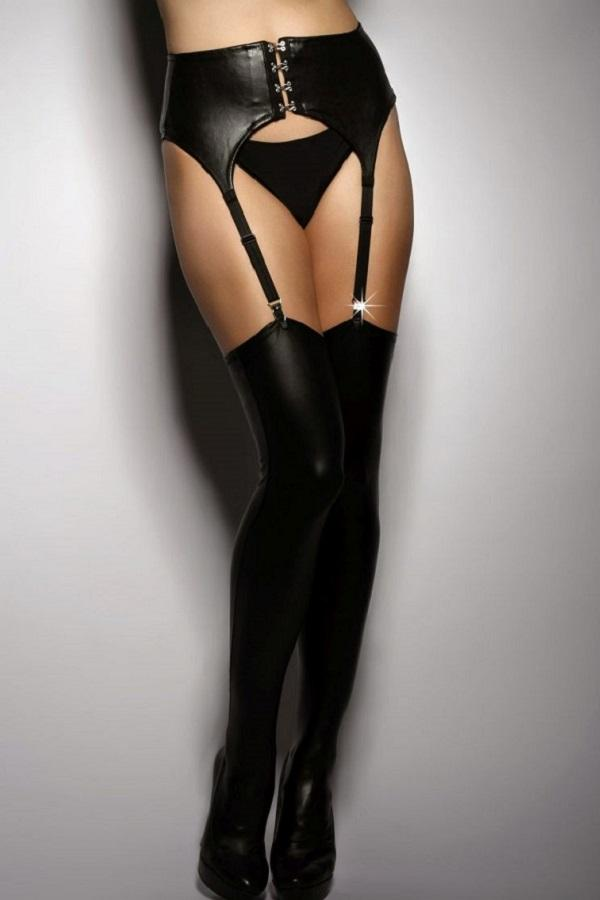 PU Leather Hold Ups A7766