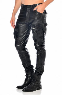 Faux Leather Men`s Jeans Bronn