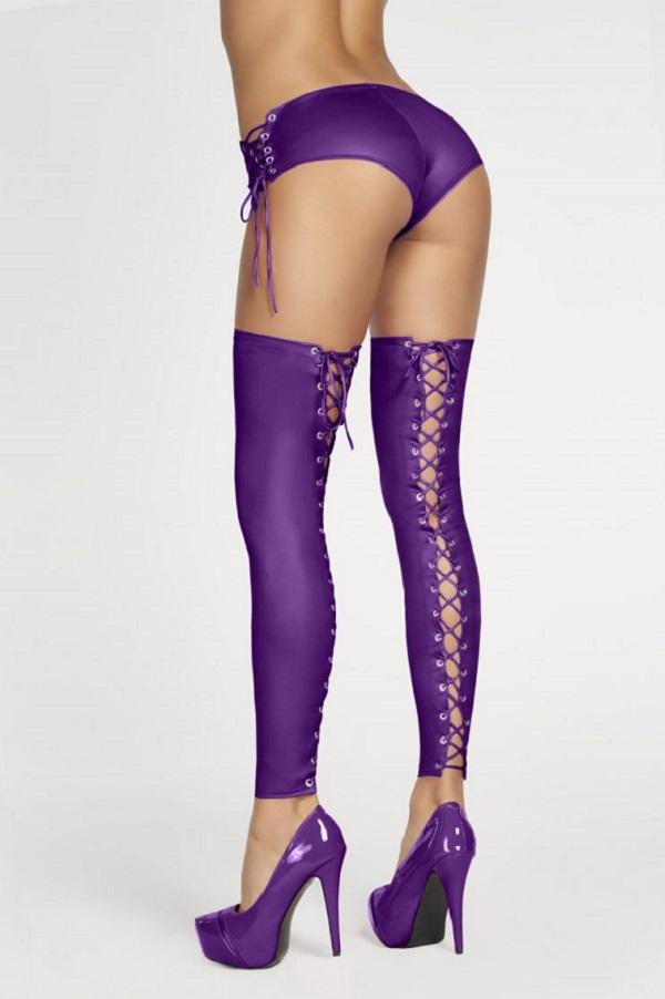 Purple Wet-Look Leggings Casma