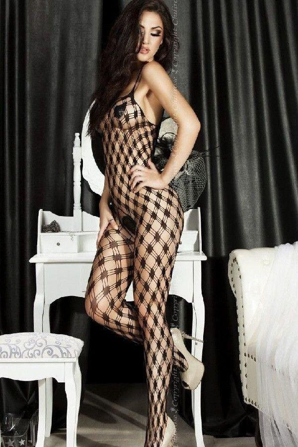 Black crotchless bodystocking
