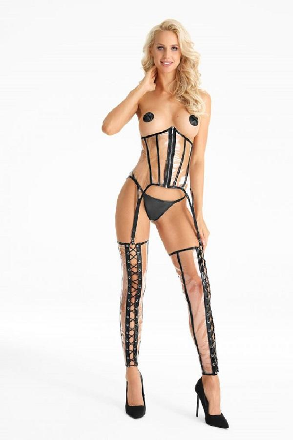 Transparent Suspender Corset CR414