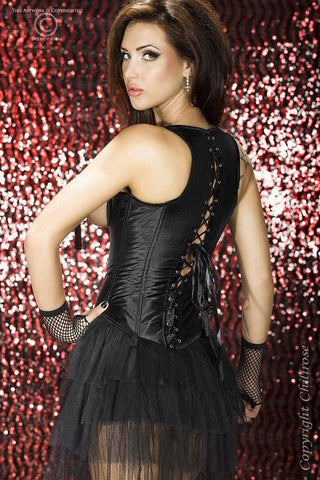 Black satin under-bust corset