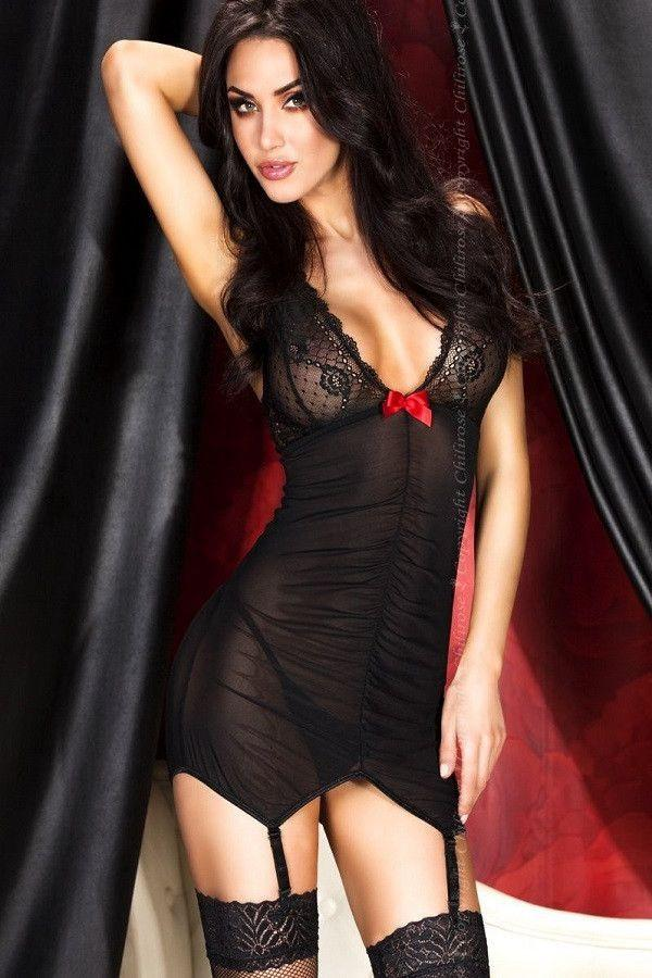 CR 3467 black nightdress with garters