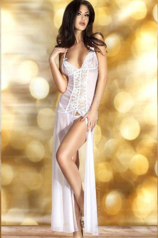 Long white lingerie nightdress