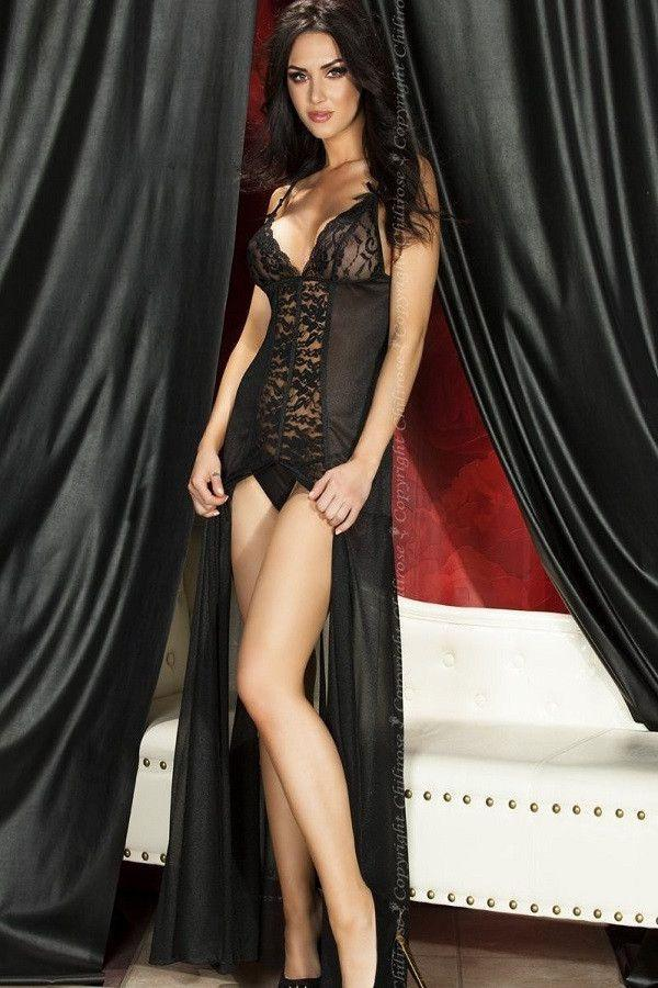 Long Black lingerie gown