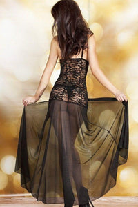 Long black lingerie nightdress
