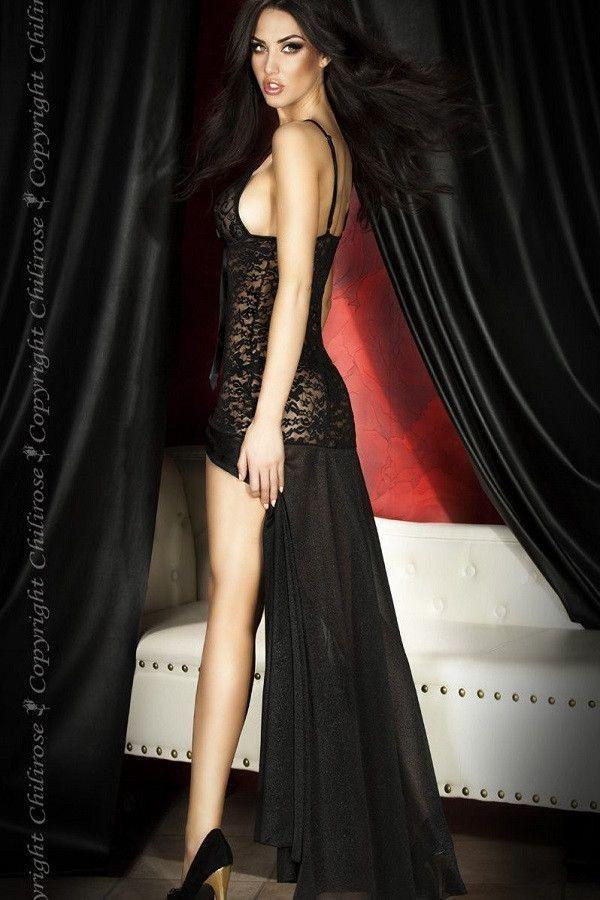 Long black lingerie nightdress for <span class=money>€24.95 EUR</span> at Flirtywomen