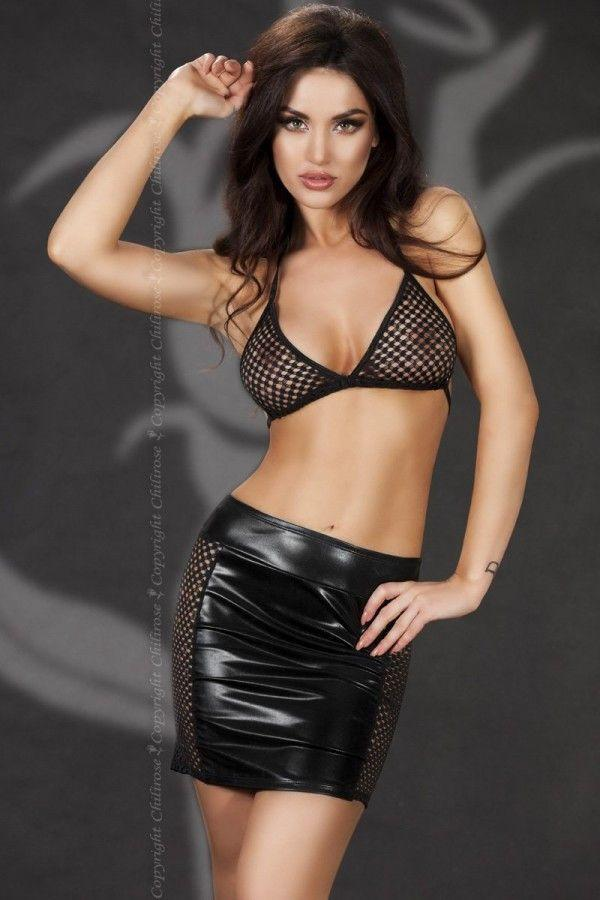 Black wet-look skirt with a fishnet bra top