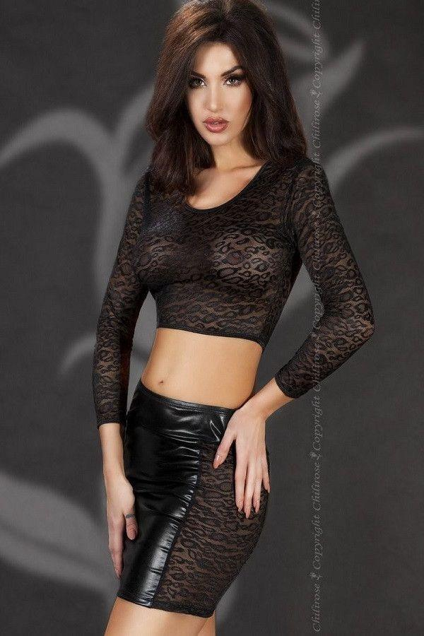 Black wet-look skirt with a short top