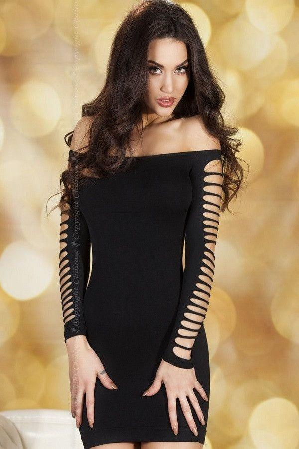 Long sleeved black mini-dress - Flirtywomen