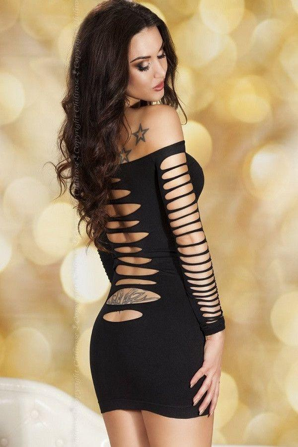 Long sleeved black mini-dress