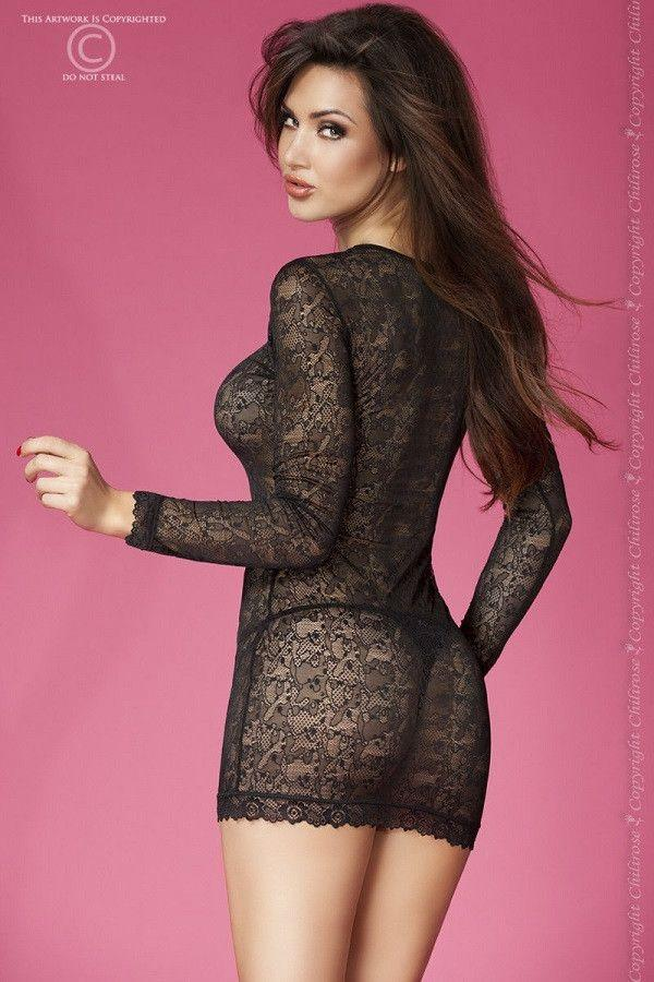 Black lingerie long sleeve dress