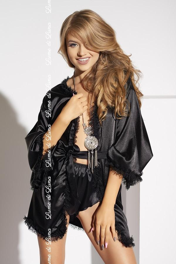 Black satin short robe Cascina