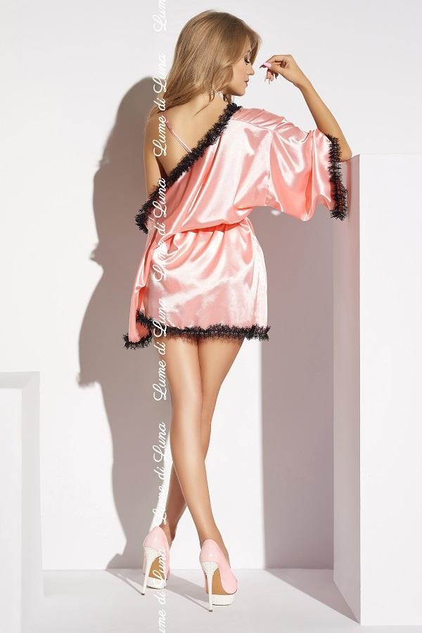 Pink satin short robe Cascina