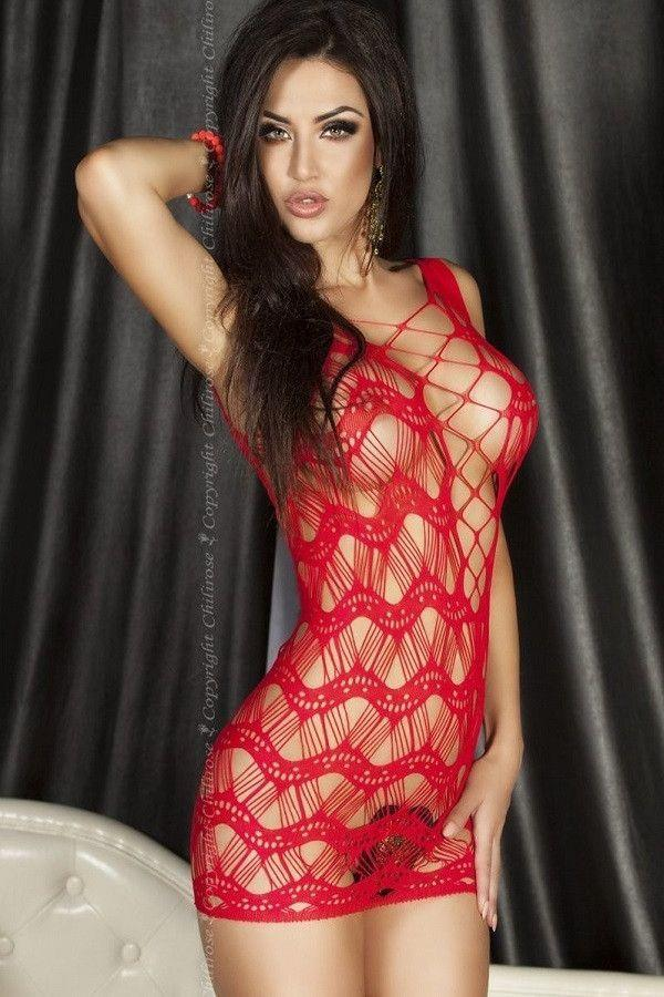 Red spider web lingerie dress