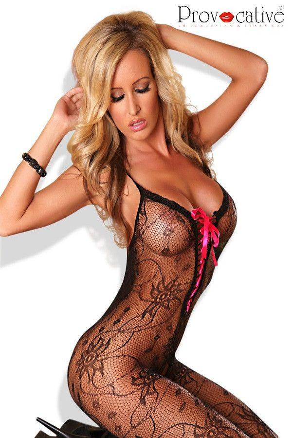 Black shoe string strap bodystocking