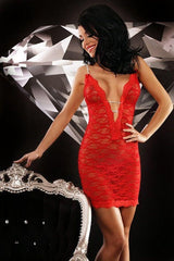 Red lace made short chemise