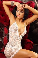 White lace short nightdress
