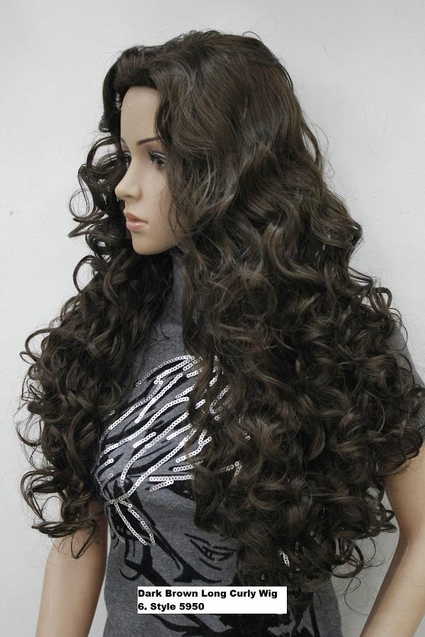 Long Dark Brown Spiral Curly Wig