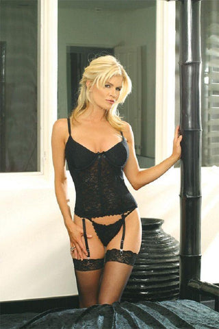 Black stretch lace Bustier 40""
