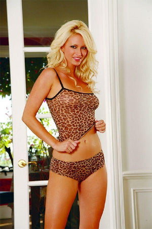 Leopard camisole and thong