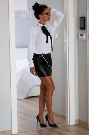 Eco-leather mini-skirt