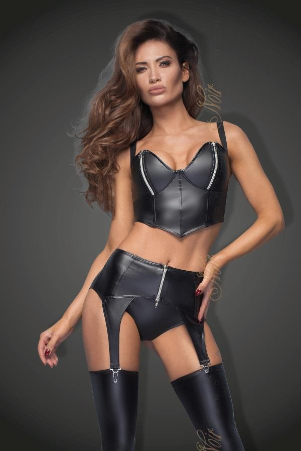 Power wet-look garter belt F166