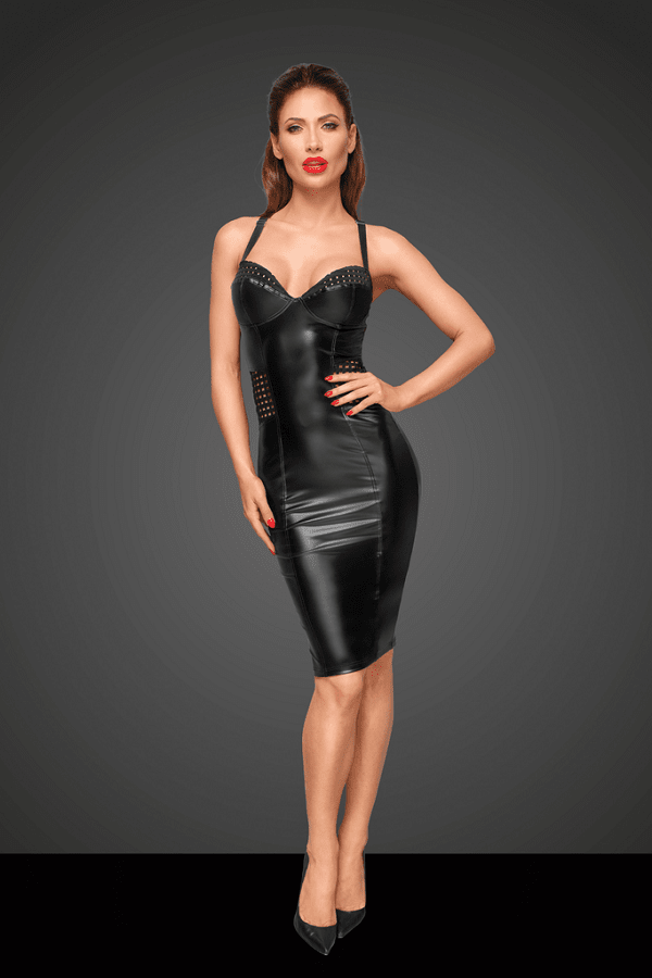 Power wet look dress F180